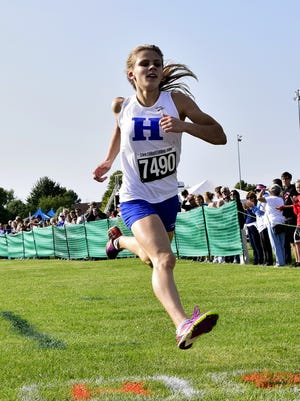 Division II girls third place belongs to Maggie Schroeder of Highlands at the Mason Cross Country Invitational Sept. 9.