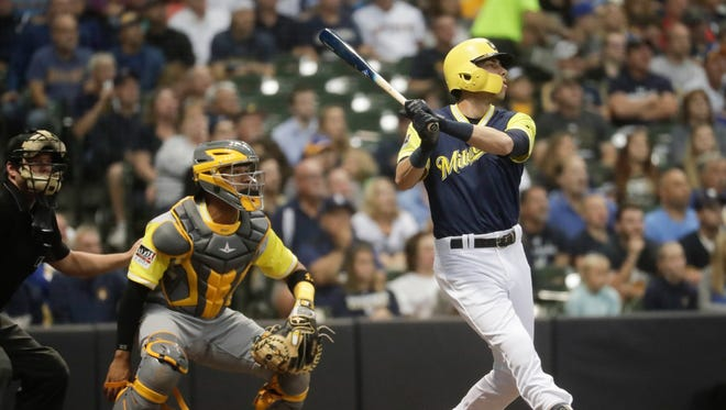 Christian Yelich homered in three straight games before going hitless against the Pirates on Sunday.