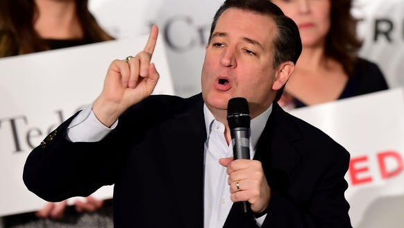 Ted Cruz speaks at a rally in Irvine, Calif., on April