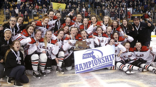 The Wellesley girls hockey team celebrates following the Raiders' 1-0 win over Canton in the Division 2 state title game on March 18, 2018 at TD Garden. The MIAA has not yet ruled out any postseason tournaments for the winter sports season.