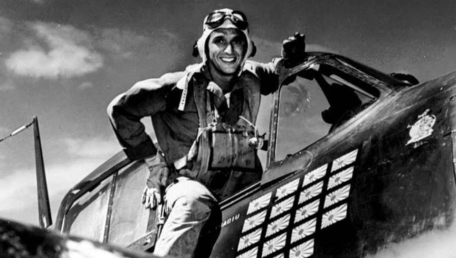 Lt. j.g. Alexander Vraciu in his F6F after the Battle of the Philippine Sea on June 20, 1944.