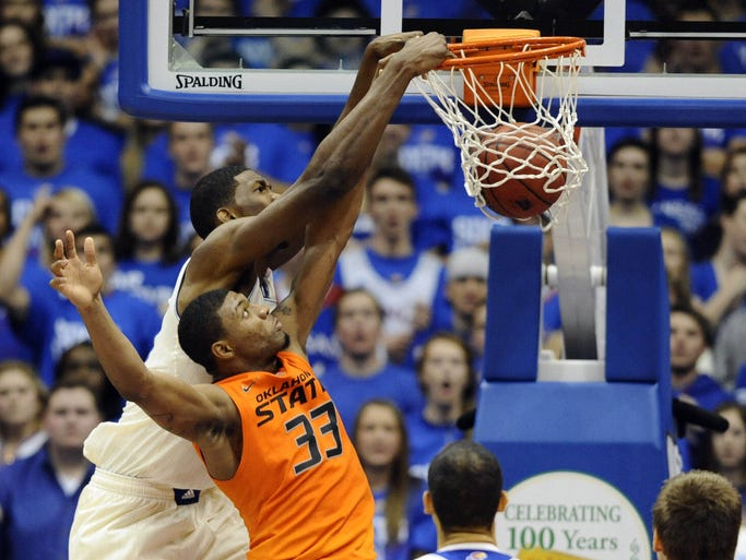 Joel Embiid, Kansas: 13 points, 11 rebounds in Jan. 18 win vs. Oklahoma State.