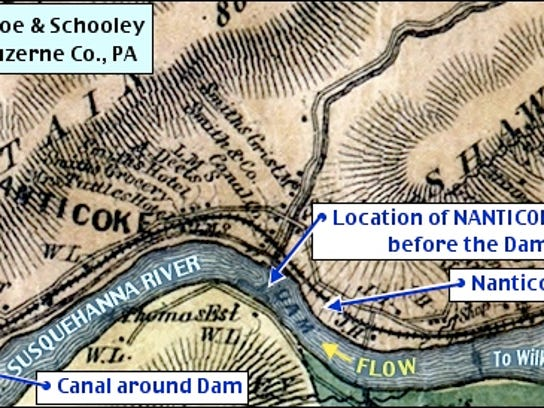 Location of Nanticoke Falls in the Susquehanna River as it cuts through the Nanticoke Gap in the Shawnee Mountain Range (1864 Lacoe & Schooley Map of Luzerne County, Pa.; 2015 Annotations by S. H. Smith)