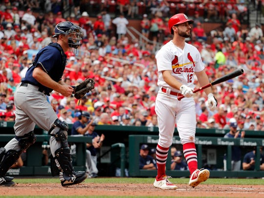 Paul DeJong walks away after striking out in the sixth inning.
