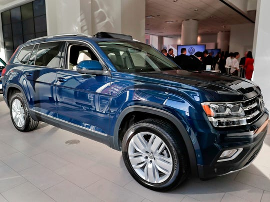 The 2018 Volkswagen Atlas sits on the showroom floor at the company's New York flagship store during a media preview for the New York International Auto Show in New York.
