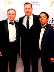 Phil Savage IV , Board Chair of The Community Foundation, Brian McDonald of Southern California Edison and Dr. Jonathan Lorenzo Yorba, President and CEO of The Community Foundation.