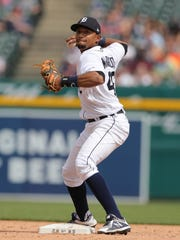 Detroit Tigers second baseman Dixon Machado throws to first during ninth-inning action against Tampa Bay Wednesday, May 2, 2018, at Comerica Park.