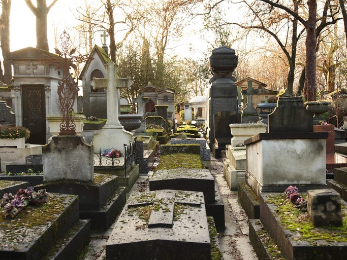 Père Lachaise Cemetery, Paris: Opened in 1804, the largest cemetery in Paris is the final resting place for some 1 million people and a popular tourist destination. Among the more famous graves are those of Oscar Wilde, Frederic Chopin, Jim Morrison and star-crossed lovers Abelard and Heloise.