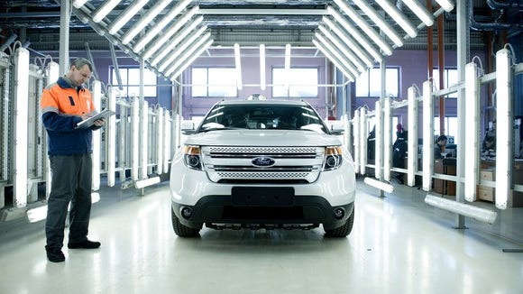 A Ford Explorer rolls off the assembly line at the Ford-Sollers plant inVsevolozhsk.