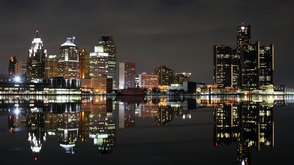 The skyline of Detroit, whose burgeoning tech scene is drawing some techies away from the coast.