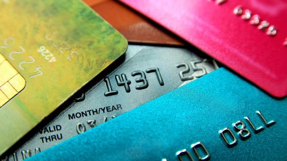 A closeup view of credit cards