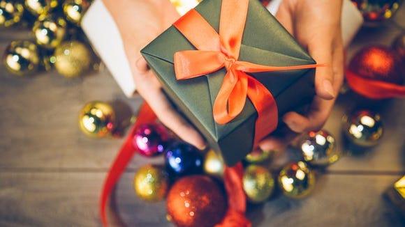 Gift box and Christmas ornaments.