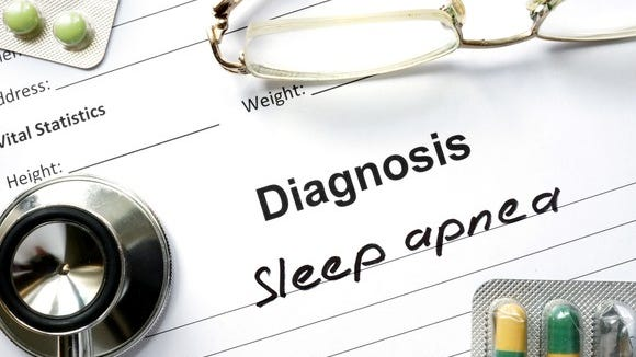 Sleep apnea written on chart with glasses and drugs