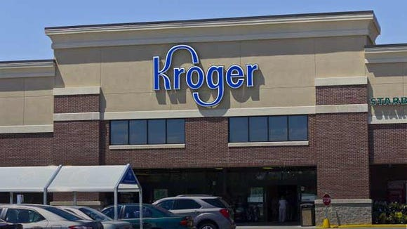 The entrance of a Kroger store