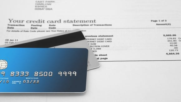 Credit card statement with two cards on top of it