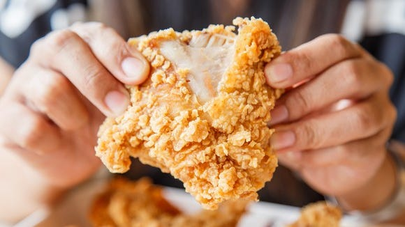 A piece of fried chicken.