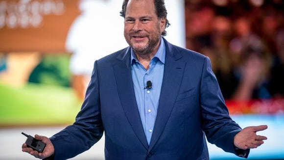 Salesforce Chairman and CEO Marc Benioff at Salesforce Dreamfest 17. Employees at Salesforce sent a letter to Benioff asking him to reconsider the company's contract with U.S. Customs and Border Protection.