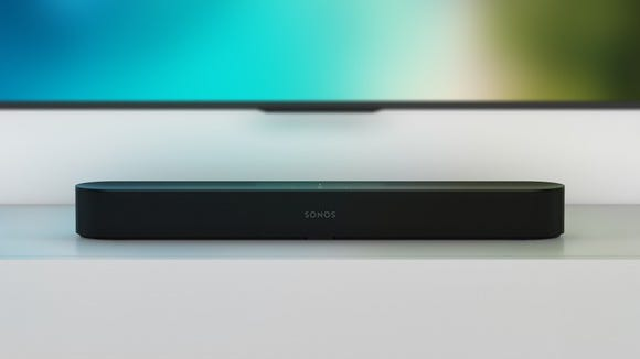 Sonos Beam sitting beneath a TV