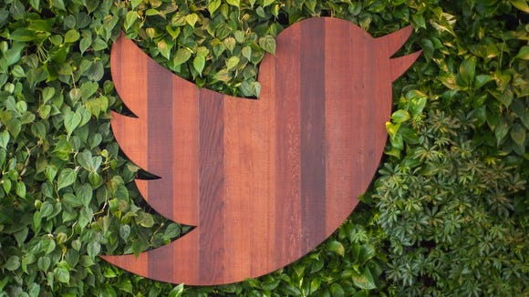 Wood-carved Twitter bird on a bed of ivy.