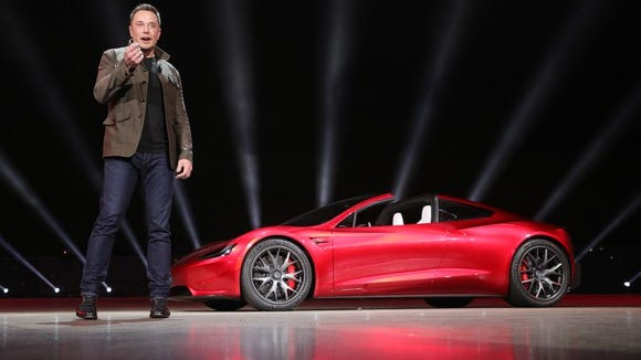Tesla CEO Elon Musk introduces the new Tesla Roadster.