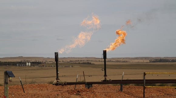 Wells flaring natural gas.