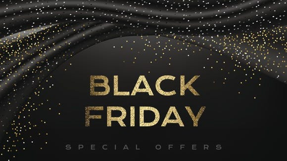 The words black friday special offers against a black background with gold confetti.