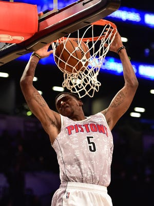 Kentavious Caldwell-Pope of the Detroit Pistons dunks for the U.S. Team against the World Team during the first half  of the Rising Stars Challenge at Barclays Center in Brooklyn on Feb. 13, 2015.