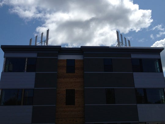Cell antenna prototypes were installed on the roof of a new apartment building on North Winooski Avenue in Burlington in August 2014.