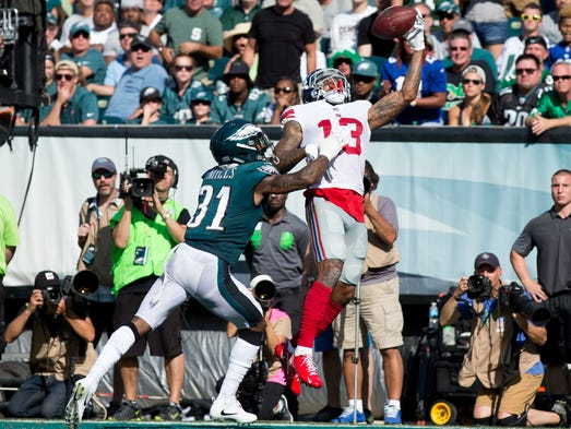 New York Giants wide receiver Odell Beckham makes a