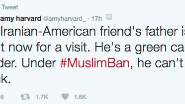 A screenshot of a woman's tweet in which she says a friend's father won't be able to return to the United States.