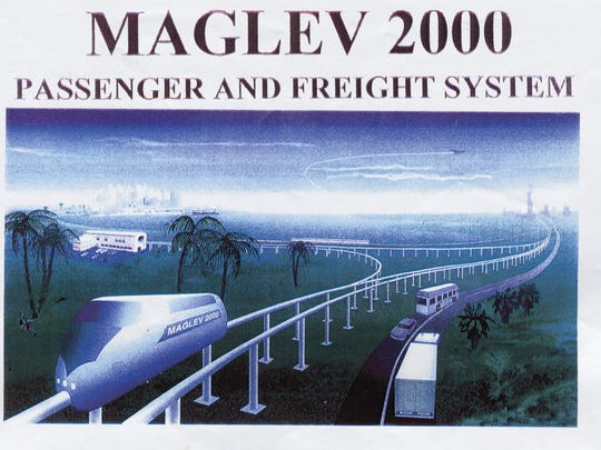 Concept image of a Maglev 2000 train. The company proposed