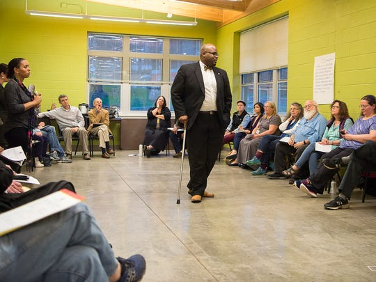 Councilman Keith Young talks about CPAC's role in the community Wednesday evening at the Wesley Grant Southside Center.