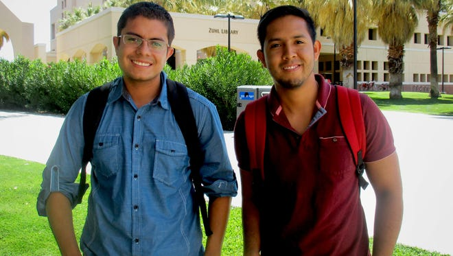 Two NMSU graduate students from Mexico, Carlos Murguia (left) and Victor Cruz, have made Arrowhead Center their nexus for productivity and success. Murguia, Cruz and a group other students participated in Arrowhead's Activando Emprendedores bilingual entrepreneurship training program in summer 2015. The program includes partnerships with several universities throughout Mexico.