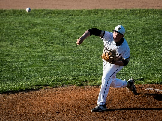 Daleville's Evan Etchison throws in the Delaware County