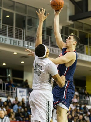 Braden Burke shoots a hook shot against LIU Brookly in the NEC tournament quarterfinals in March. Burke, who's transferring to MSU as a preferred walk-on, averaged 4.3 points and 2.7 rebounds in 15.2 minutes as a freshman at Robert Morris last season.