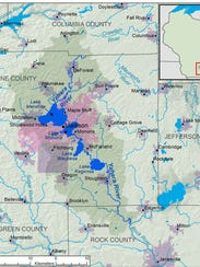 The Yahara Watershed covers 359 square miles,  all