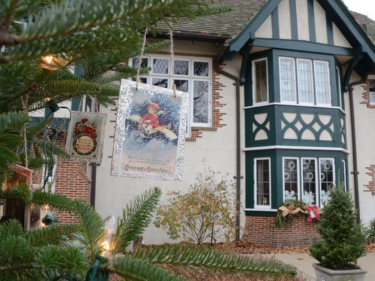 The Kellogg Manor House decorated for Christmas, one