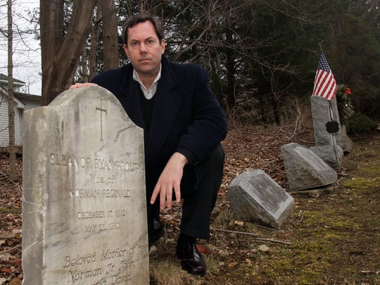 Brooks Prouty, pictured at his grandmother's grave