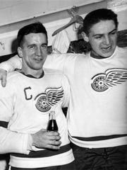 Ted Lindsay of the Detroit Red Wings with Terry Sawchuk, April 1955. Lindsay fought to establish the National Hockey League Players' Association, winning an out-of-court settlement with the NHL in 1958.