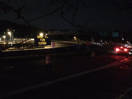 The Exit 10 on ramp to the Tappan Zee Bridge is closed