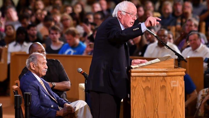 U.S. Sen. Bernie Sanders speaks at a town hall meeting