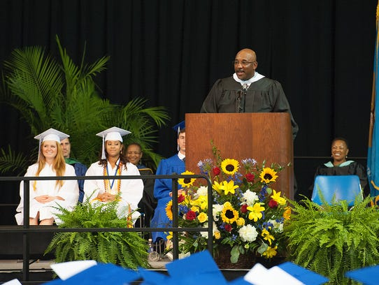 Jim Simmons, then principal at Brandywine High, speaks at the school's 2014 commencement.