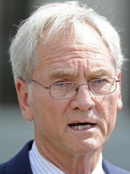 Former Alabama Governor Don Siegelman pauses to speak with the media as he leaves the federal courthouse in Montgomery, Ala. on Friday August 3, 2012 after being sentenced to 78 months in jail for bribery.
