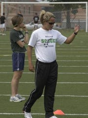 Barnes as Mason's girls' soccer coach in 2008