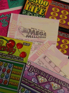A variety of New York Lottery tickets for a photo illustration.