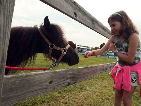 Felice Kozak, 9, of Yonkers pets a pony at the annual