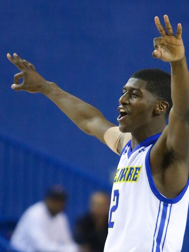 Delaware's Ryan Allen reacts after one of his three-pointers
