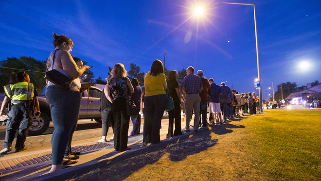 Voters at a Mesa church waited about three hours to cast a ballot in Arizona's presidential preference election.