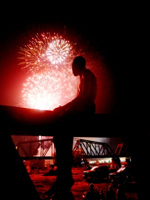 Terry Antee watches the fireworks at the Independence Day Festival in Shreveport.