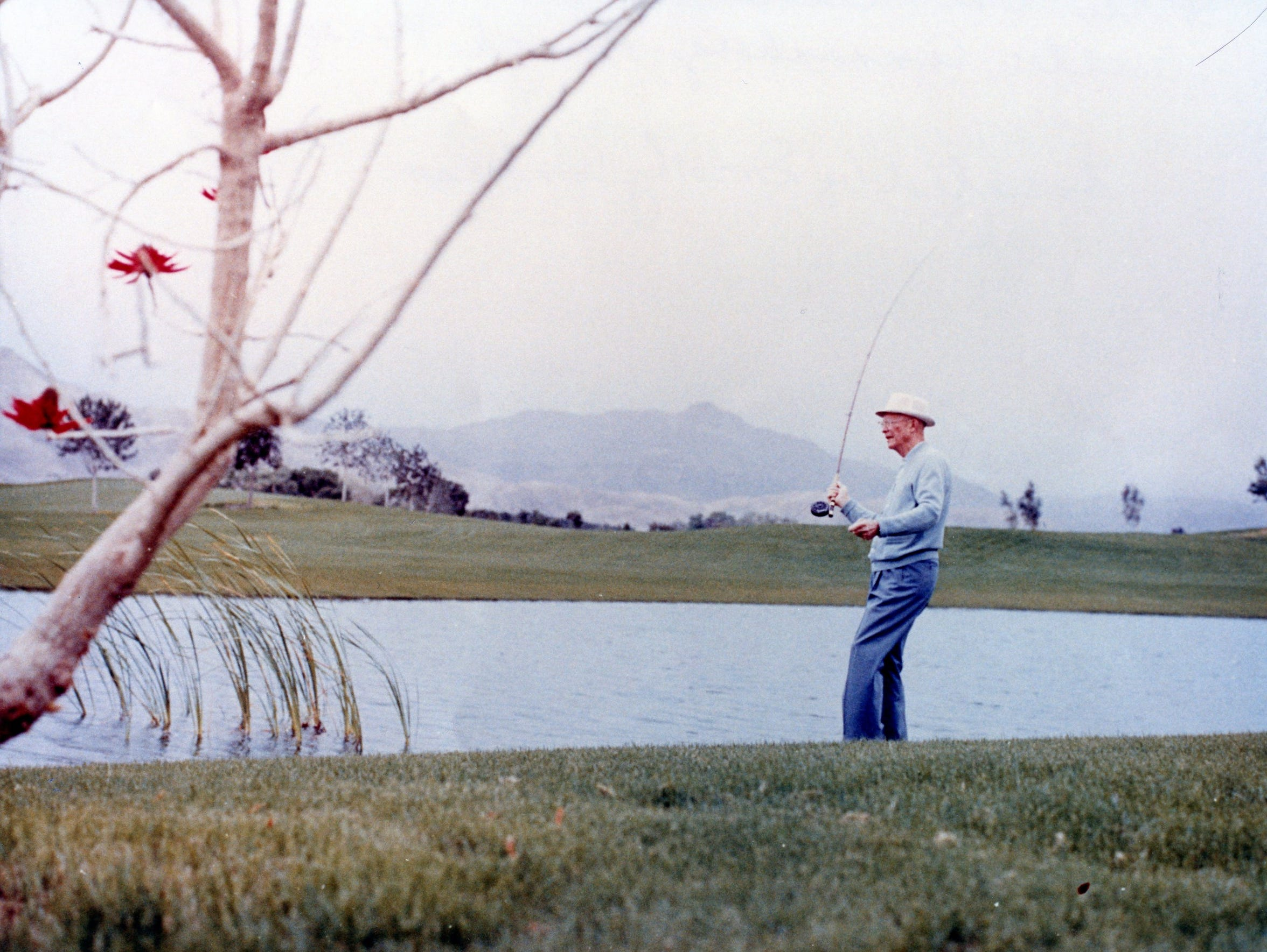 Pres. Eisenhower fishing at Annenberg Estate.